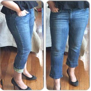 Cool Capri jeans printed roll up cuff